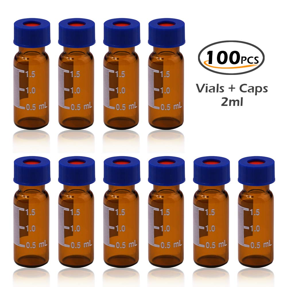 2ml autosampler vial2ml Amber HPLC Screw Vials with Blue Caps for Sale