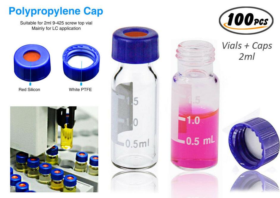 2ml autosampler vial2ml 9-425 screw top vials with pp cap on stock