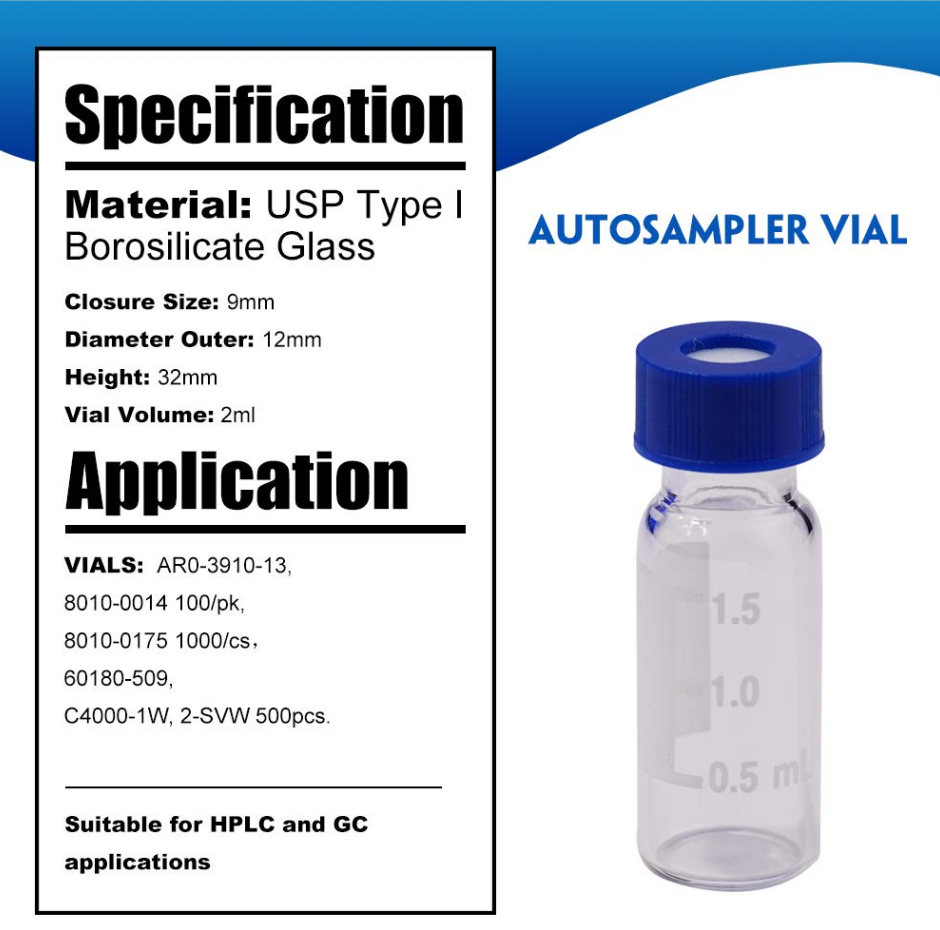 2ml autosampler vial9mm vials suit for HPLC and GC application