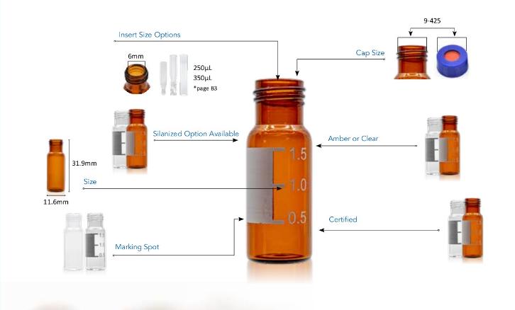 2ml autosampler vialAijiren 2ml 9mm amber screw top vials