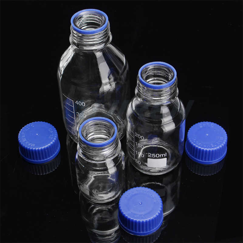 100ml glass reagent bottle with blue screw cap for sale